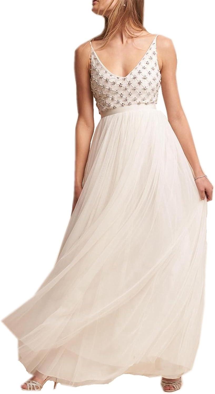 Heartgown Women's V Neck Beach Wedding Dress Beaded Tulle Spaghetti Strap Long Dress for Bride