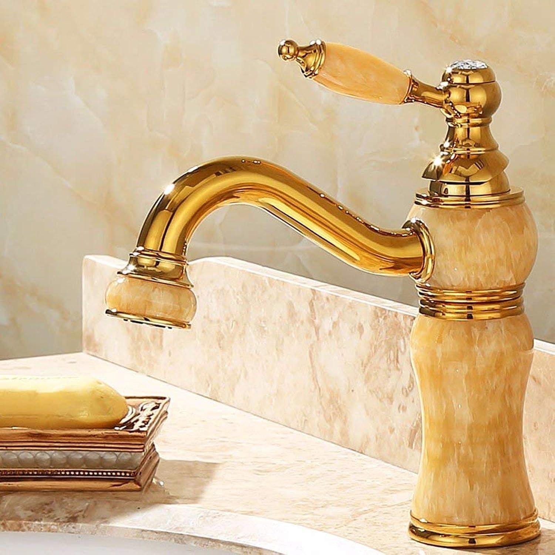 Ywqwdae Mixer Wasserhahn Kupfer im europischen Stil Heie und kalte Goldene Jade VerGoldet