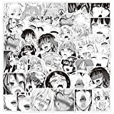 Ahegao Sexy Anime Girl Stickers Black White for Adults Men Water Bottles Laptop Phone Cars Bicycle Motorcycle Skateboard Bedroom Travel Case 50pcs