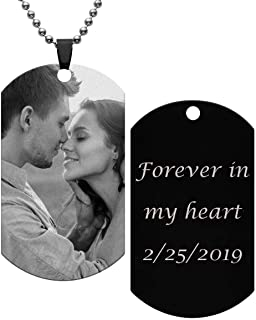 Personalized Master Custom Photo Text Dog Tag Pendant Customized Picture Necklace Valentine's Day Birthday Gift for Men Women