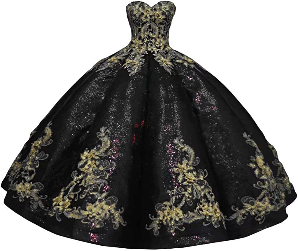 Gold Lace Pearls Quinceanera Dresses Ball Gown Strapless Sequined Satin Masquerade Pageant Dress 2021