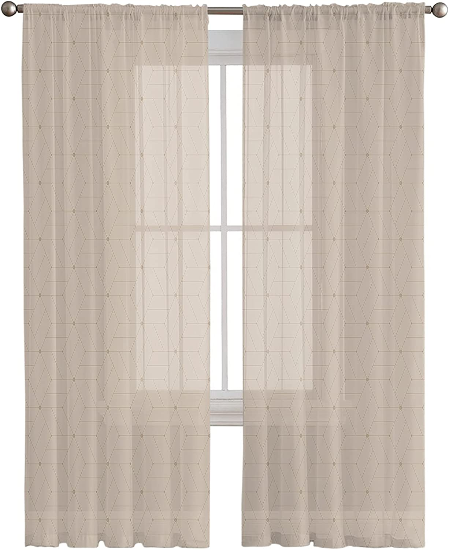Rod Pocket Semi Sheer Curtains Max Popular brand 70% OFF Pattern Kaleidoscope Abstract Geo