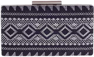 LVfenghe Women's Embroidery Geometric Pattern Fashion Evening Bag Solid Color Banquet Clutch Bag Wedding Dress Shoulder Messenger Bag Size: 20 * 3.5 * 11cm (Color : Black)