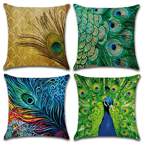 HuifengS Linen Throw Cushion Pillow Covers Square Pillowcase Peacock Decorative for Sofas Beds Chairs Cushion Cover Set of 4, 18 x 18 Inch