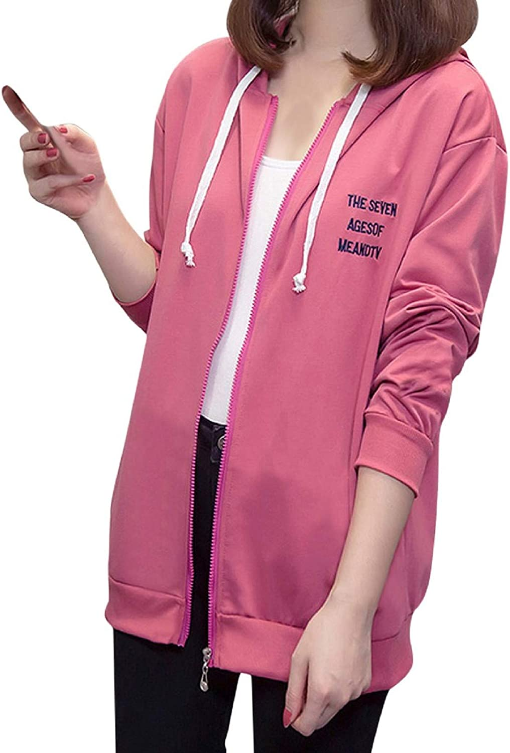 Amaeen Coats for Womens Hooded Sports Cardigan Jacket Solid Color Coat Loose Long Sleeve Soft Casual Winter Overcoat