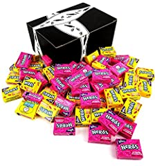 Includes one 2 lb bag of Assorted Wonka Fun Size Lemonade Wild Cherry Nerds and Wonka Fun Size Seriously Strawberry Nerds Made in the USA In a BlackTie Box