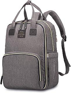 HaloVa - Mochila para pañales, cambiador de pañales para bebé, mochila de viaje con bolsillos térmicos aislados para botellas, bolsa de tela húmeda y ganchos para colgar cochecito, color gris oscuro