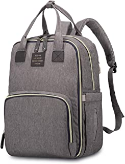 HaloVa Diaper Bag, Baby Nappy Backpack, Mommy Maternity Daddy Travel Shoulders Backpack, with Thermal Insulated Bottle Pockets, Wet Cloth Pouch and Stroller Hanging Hooks, Dark Grey