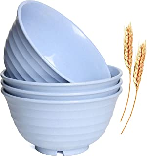 Microwave-Safe Bowl Sets- Wheat Straw Bowls 4 Pack 6.8 inch Large Size Unbreakable Degradable Bowl Reusable Eco Friendly Cereal Bowls for Soup,Dessert and Salad - Easy Dishwasher Safe(Blue)