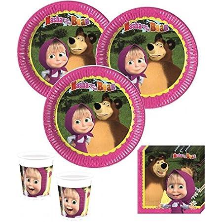 Set di decorazioni per feste di Mascha e Orso, 52 pezzi, per 16 bambini
