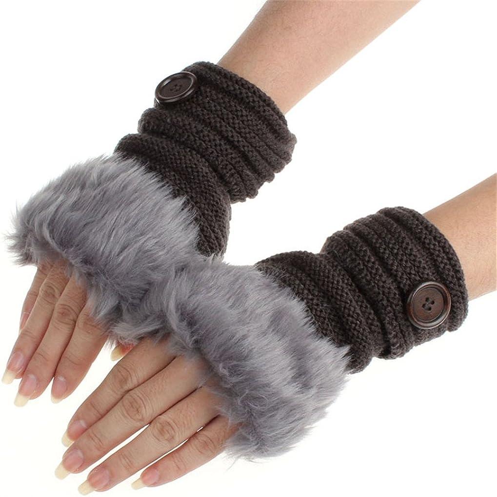 haoricu Women Gloves, Women Warm Winter Faux Rabbit Wrist Fingerless Knitting Gloves Mittens