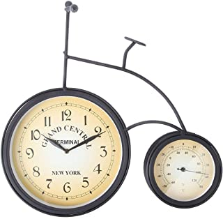 Lily's Home Vintage Inspired Retro Penny Farthing High Wheel Bicycle Outdoor Hanging Garden Wall Clock Thermometer 2 in 1 ...