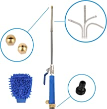 """Hose Extension Wand, Power Washer Attachment, 9"""" Extender, 6 PCS, Extendable Water Sprayer, Steel, w/Nozzles, Scrub Mitt, Adapter, Surface Cleaner, Car Wash, High Pressure Hydro Jet, Garden Watering"""