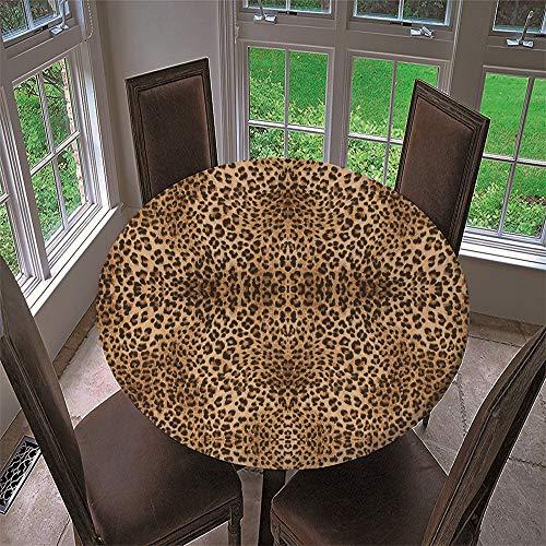 Chickwin Mantel Impermeable Antimanchas Redondo, Mantel de Mesa Diseño de Borde Elástico Textura Animal 3D Patrón Mantel Poliéster para Comedor, Cocina, Picnic (Patrón Leopardo,Diámetro 100cm)