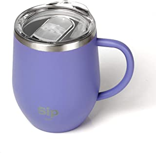 PURPLE Double Walled 18/8 StainlessSteel Insulated Cup, Handle & Lid 12oz- Keeps your Drinks Hot up to 6 hours Cold up to 24hour - Coffee, Tea, Beer, Water, Wine - FREE Silicone Straw & Cleaning Brush