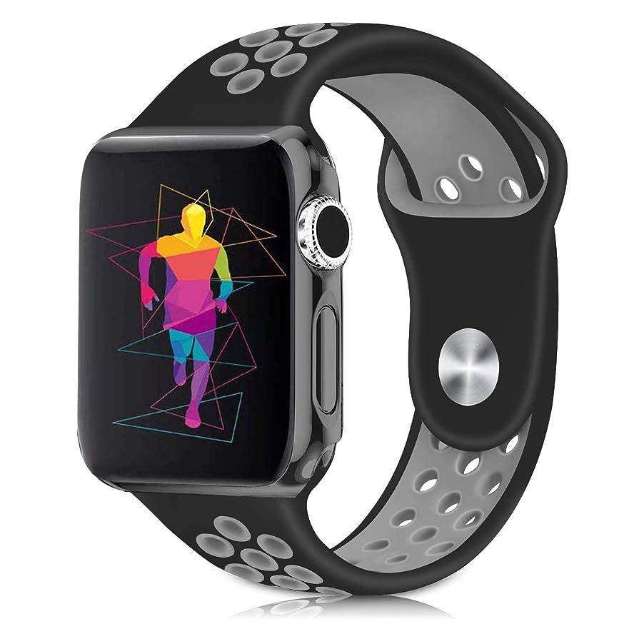 気候国歌テロリストCompatibleアップルウォッチバンド42M/44MM i watch バンド対応アップルウォッチ Nike+ Apple watch バンドSeries 5/4/3/2/1交換バンド (42mm/44mm, ブラックグレー)