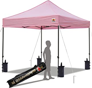 ABCCANOPY Pop up Canopy Tent Commercial Instant Shelter with Wheeled Carry Bag, Bonus 4 Canopy Sand Bags, 10x10 FT Pink