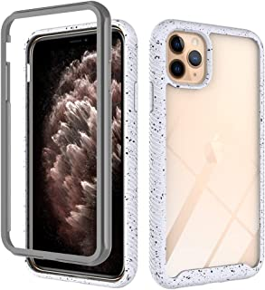 Clear Heavy Duty Case Compatible with iPhone 11 Pro Max 6.5 inch Display Case with Transparent Hard PC Clear Back Cover + Soft Silicone Rubber Bumper, Anti-Scratch Shockproof Case - Frost White