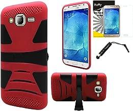 For Samsung Galaxy J7 2015 / J700M /ITUFFY 3items: Screen Protector Film + Stylus Pen + [X Series-KickStand] [Shock Absorption] [Anti Slip Rubber Grip] Dual Layer Hybrid Armor Case (Red Black)