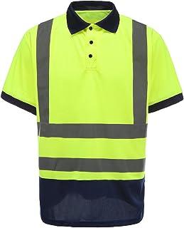 AYKRM Men's Polo Shirts Hi Vis High Viz Visibility Short Sleeve Safety Work-wear Shirt (M, Yellow)