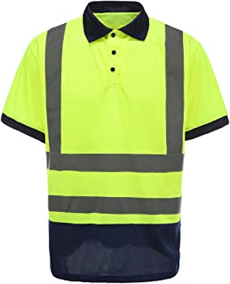 Men's Polo Shirts Hi Vis High Viz Visibility Short Sleeve Safety Work-wear Shirt (S, Yellow)