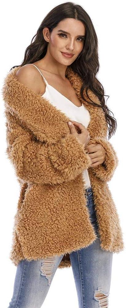 Women's Winter Faux Fur Coat Cardigan Shearling Fuzzy Jacket with Pockets