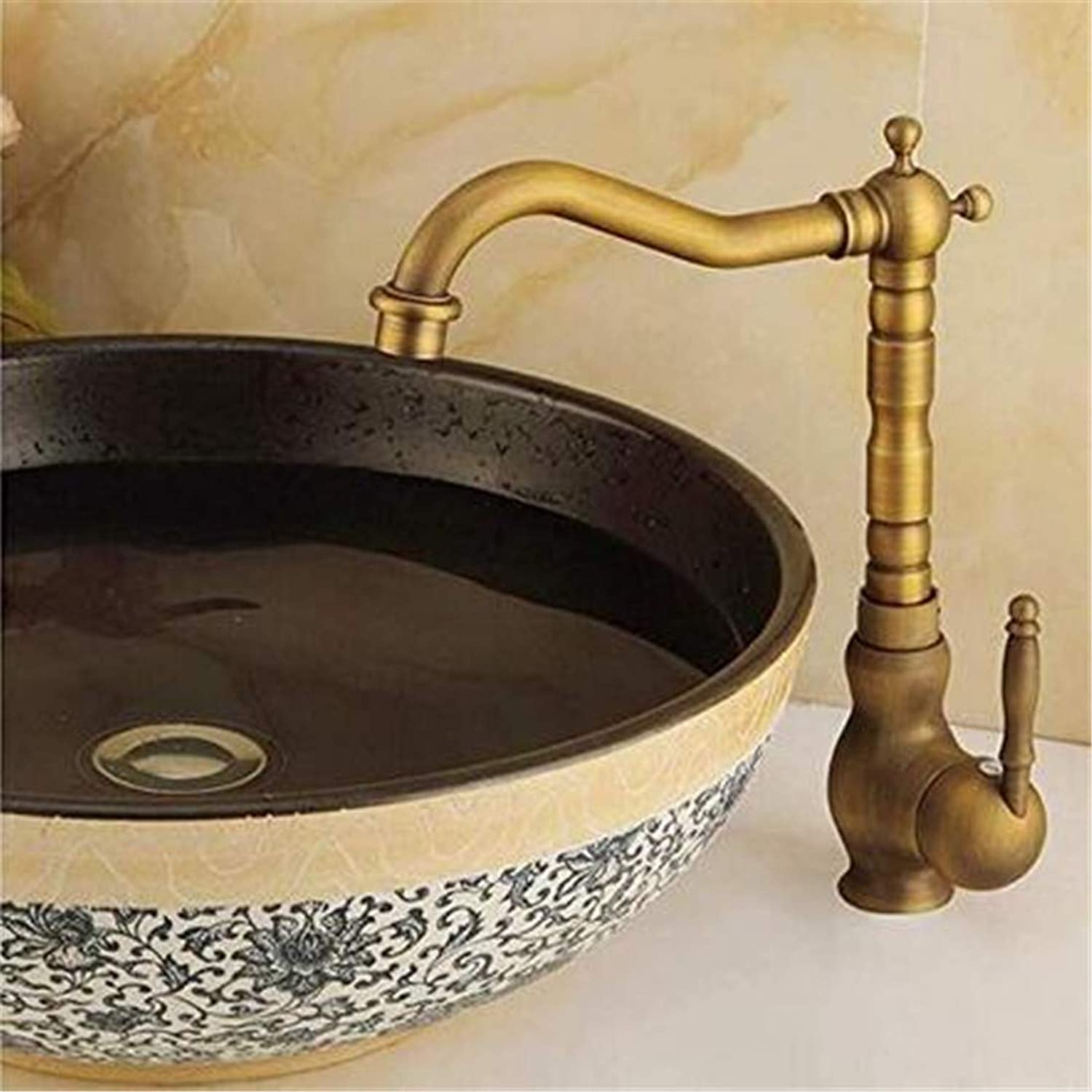 Hot and Cold Chrome-Plated Brass Kitchen Degrees redate Bathroom Kitchen Sink Basin Faucet Bronze Antique Retro Hot and Cold Mixter Tap