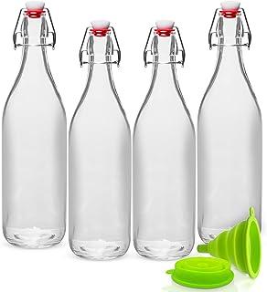 GUADONA Lot de 4 bouteilles en verre transparent 1 litre de boisson (eau, jus, lait, bière, etc.) avec bouchons balançoire...