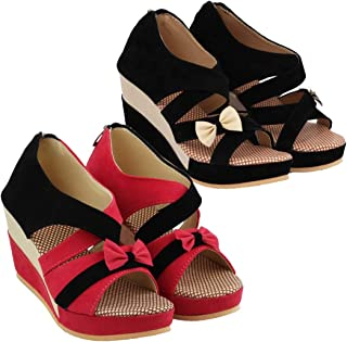 ABJ Fashion Black Wedge and Pink Wedge Sandal Combo for Women