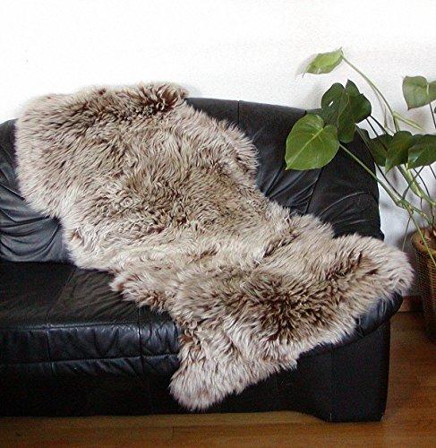 Chamier australische Doppel Lammfelle aus 1,5 Fellen Capuccino, Haarlänge ca. 50-70 mm, voll waschbar, ca. 160 cm