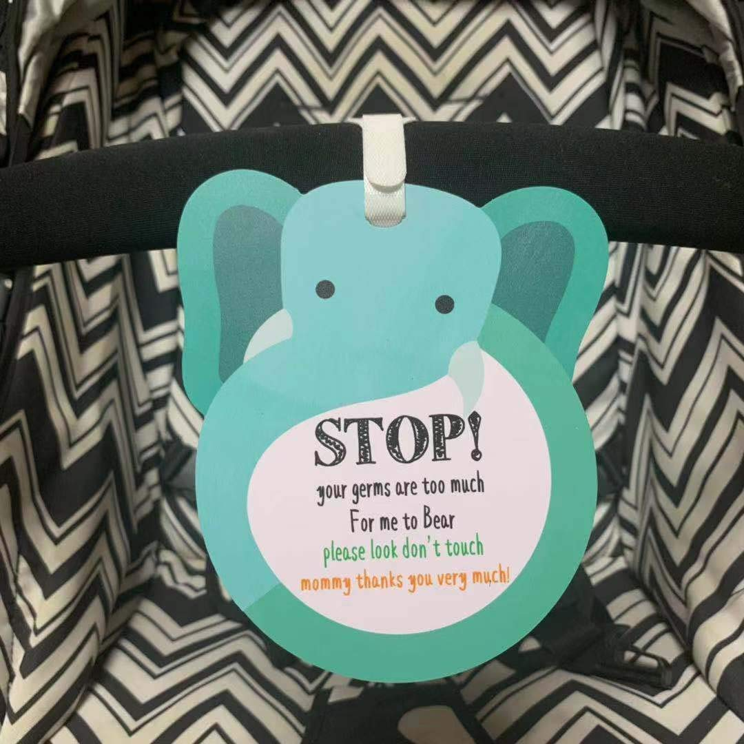 Elephant-Stop,Please Look,Don't Touch Baby Sign Tag (Girl Sign, Newborn, Baby Tag, Baby Bed Tag,Stroller Tag, Carrycot Basket Tag,Baby Preemie No Touching Sign Tag) W/Hanging Straps