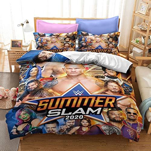 NICHIYOBI World Wrestling Entertainment WWE Juego de ropa de cama – Funda nórdica y funda de almohada, microfibra, impresión digital 3D de tres piezas (10, doble 200 x 200 cm)