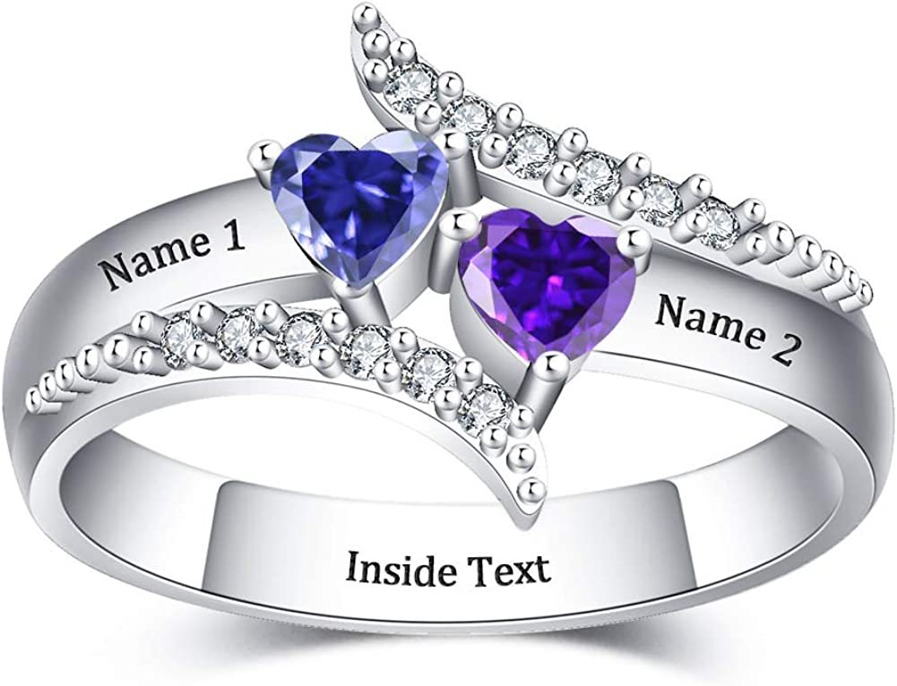 VeeVoice Elegant Custom Promise Inventory cleanup selling sale Rings for Heart Women Birth Personalized
