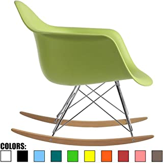 2xhome Green Mid Century Modern Molded Shell Designer Plastic Rocking Chair Chairs Armchair Arm Chair Patio Lounge Garden Nursery Living Room Rocker Replica Decor Furniture DSW Chrome