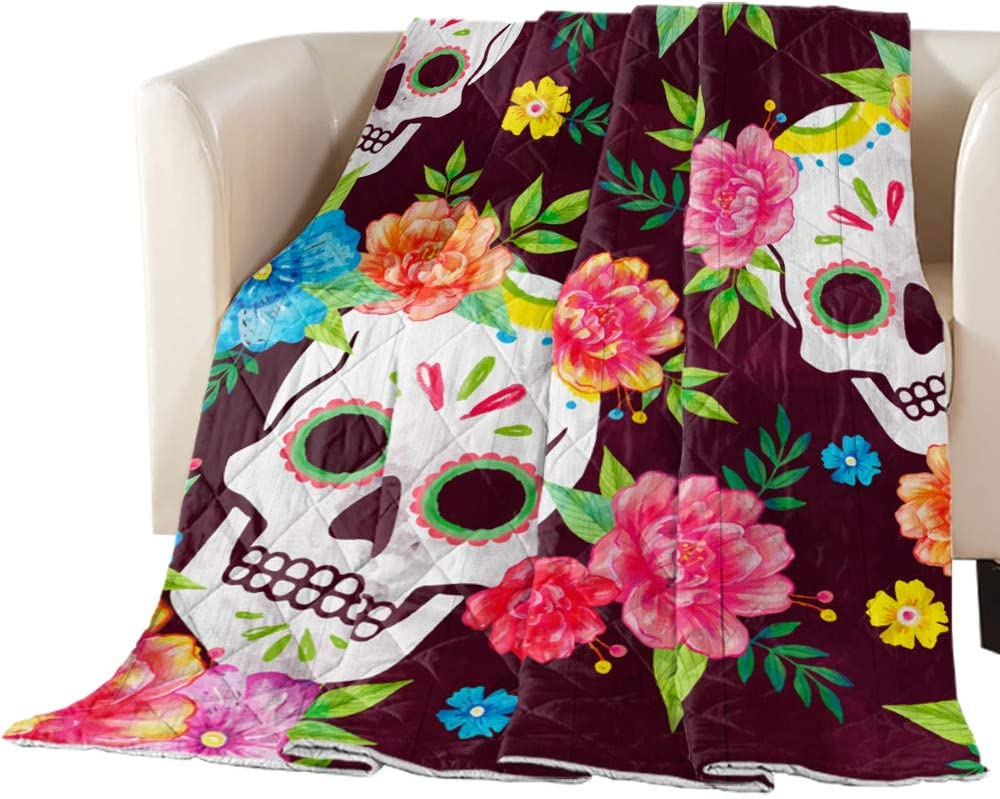 Arts Max 55% Free shipping anywhere in the nation OFF Language Bedspread Quilt Twin Skull Mexico Size All- Flower