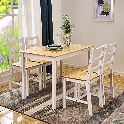 Dining Table and 4 Chairs Set Solid Pine Wooden Home Kitchen Furniture (Natural Pine/White, 1 Table 4 Chair)