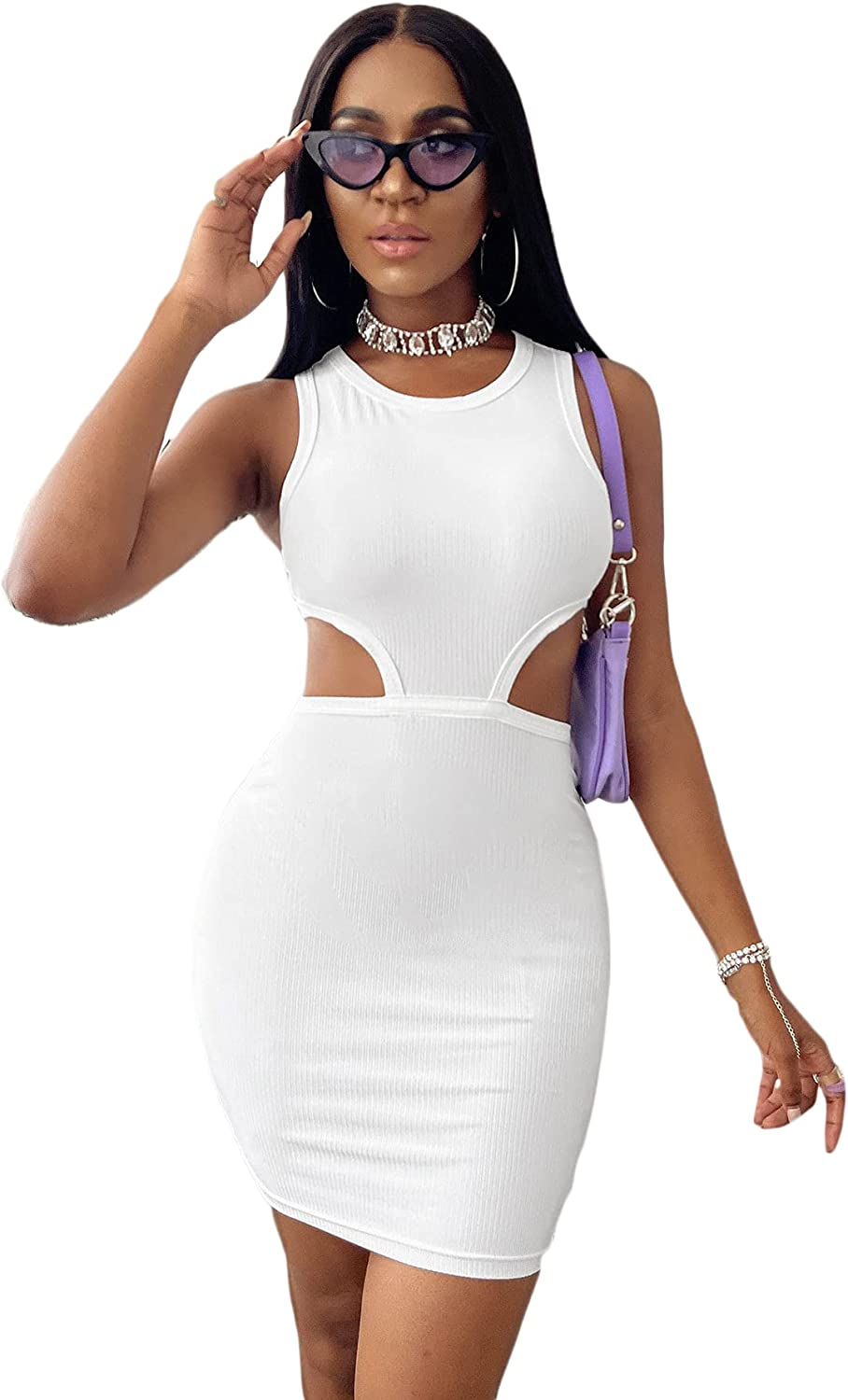 SheIn Women's Cut Out Mini Bodycon Dress Sleeveless Round Neck Solid Short Dresses