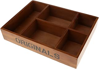 MagiDeal 5-Grid Vintage Wooden Storage Divided Box Drawer Desk Organizer Tray Sundries Container - Brown