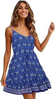 2020 Women's Beach Holiday Leisure Sling Sleeveless V-Neck Print Short Skirt Pleated Dress,Blue,S