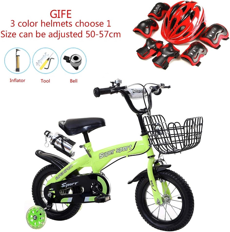 calidad de primera clase WSYY-Fahrrad Bicicletas para para para Niños con Estructura de Acero al Cochebono de 12 14 16 18 Pulgadas con Rueda de Bicicleta, Juego de Cascos,verde,18  solo para ti