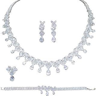 Jorsnovs 5A Cubic Zirconia Wedding Bridal Jewelry Set for Women Full Zircon Pageant Necklace Dangle Earrings Bracelet and ...