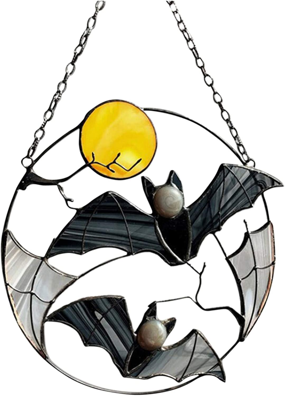 New Free Shipping Pomobie Gothic Bat Moon Suncatcher Window for Vin Glass Gorgeous Stained