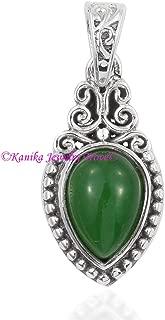 Green Jade Pendant, 925 Sterling Silver Pendants for Womens, Pear Gemstone Pendants, Handmade May Birthstone Pendants, Drop Pendants for Gift
