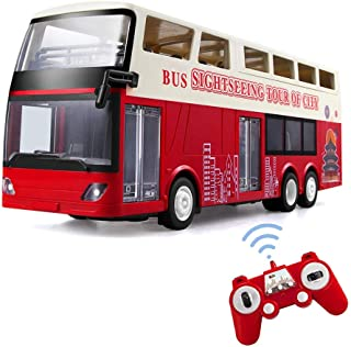 Moerc Big Double Decker Rc Bus 2.4G Removable Convertible Bus Model Led Lights Open The Door With One Click Off Control Rc...