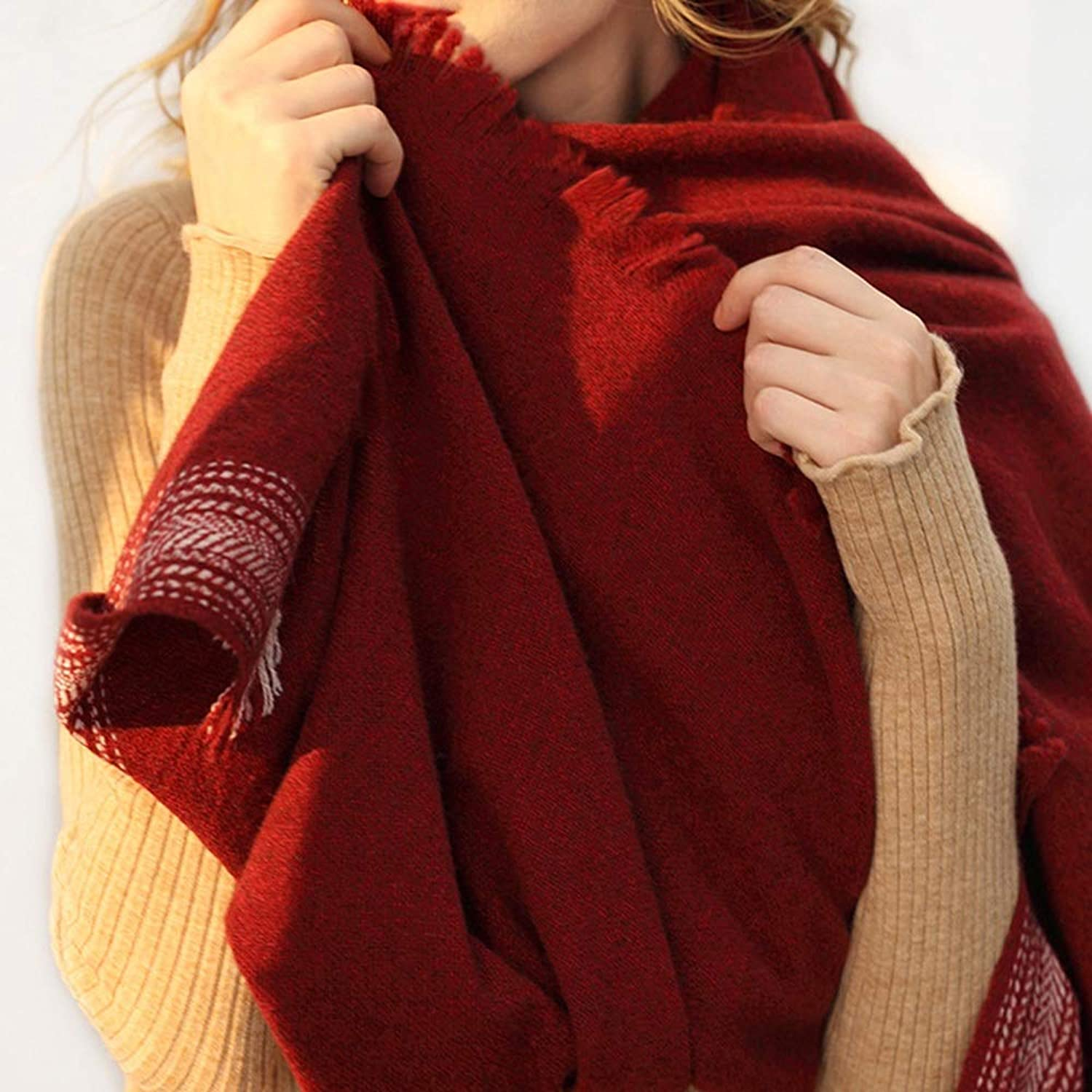 Scarf Lamb Velvet Blend Shawl Ladies Autumn and Winter Solid color Soft Wild Bib Fashion (color   Dark red, Size   One Size)