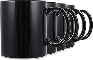Serami Black Colored Ceramic Classic Coffee Mugs Large Handles with 11oz Capacity, Set of 4