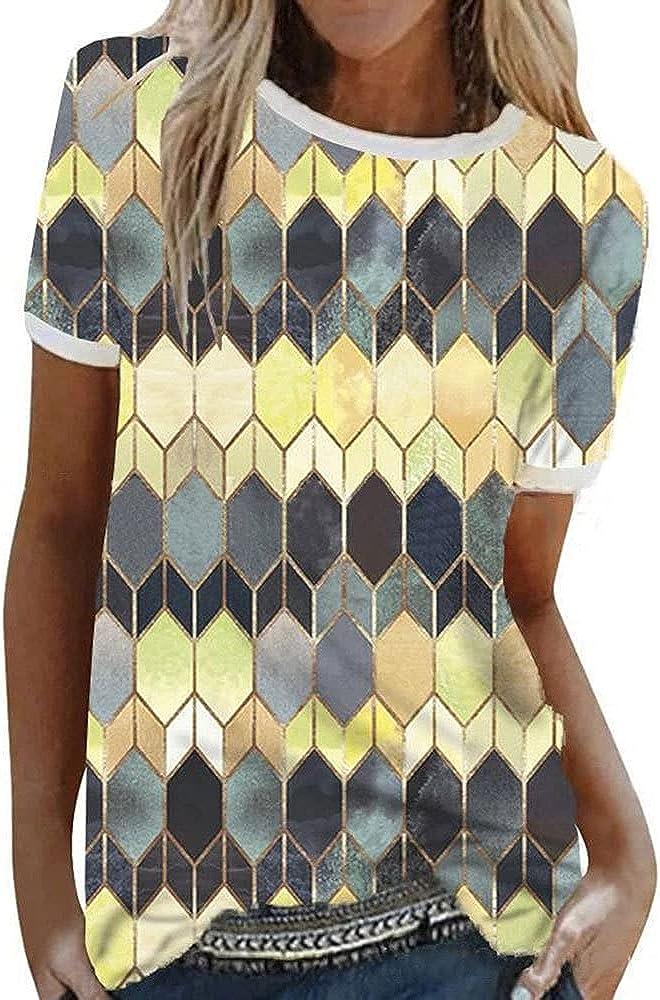 Blusa Mujer Elegante Empalme Cuello Redondo Patrón Personalidad Mujer Camisa Verano Exquisito Diseño Moda Juguetona Estilo Callejero Mujeres Tops