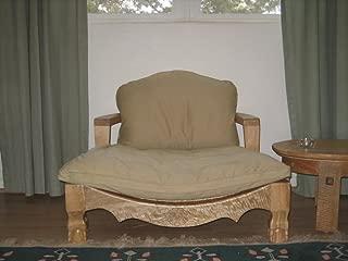 Raja Royal Meditation Chair - Natural Finish with Flax Cushion
