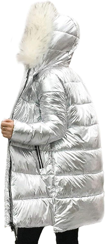 2019 Fur Collar Silver Women's Down Jacket Women's midLength Warm Coat Hooded Jacket