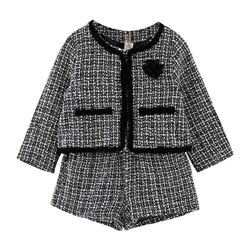 KBWL Children's Clothing Children's Girl Temperament Suit New Plaid Jacket + Shorts 2-Piece Suit Suitable for Baby Girls Sportswear 6T Ali1044W